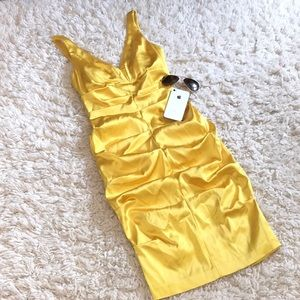Cache Bodycon Ruched Canary Yellow Dress
